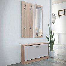 vidaXL Muebles de entradita con zapatero madera 3