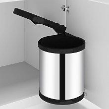 vidaXL Papelera de cocina empotrada acero