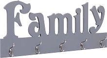 vidaXL Perchero de pared FAMILY gris 74x29,5 cm