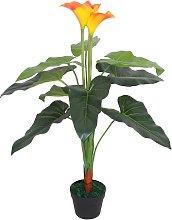 vidaXL Planta cala lilly artificial con maceta 85