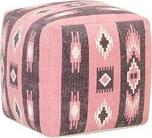 vidaXL Puf de diseño estampado de algodón rosa