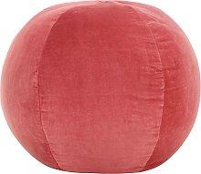 vidaXL Puf de terciopelo de algodón rosa 50x35 cm
