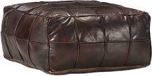 vidaXL Puf marrón oscuro 60x60x30 cm cuero