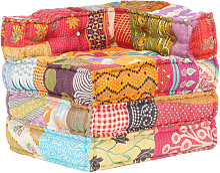 vidaXL Puf modular de tela patchwork - Multicolor