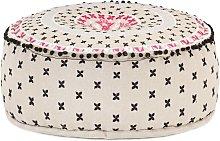 vidaXL Puf redondo con bordado algodón multicolor