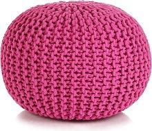 vidaXL Puf tejido a mano 50x35 cm algodón rosa