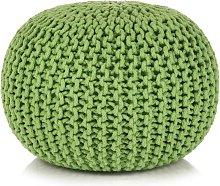 vidaXL Puf Tejido a Mano 50x35 cm Algodón Verde -