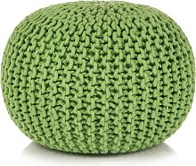 vidaXL Puf tejido a mano 50x35 cm algodón verde
