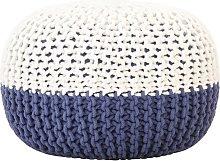 vidaXL Puf tejido a mano de algodón azul y blanco