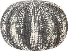 vidaXL Puf tejido a mano de lana gris oscuro y