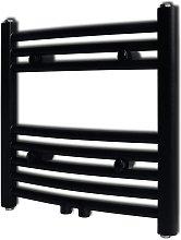 vidaXL Radiador toallero de baño curvo negro 480