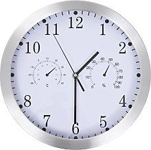 vidaXL Reloj de pared de cuarzo higrómetro y
