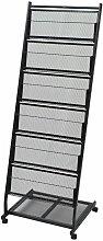 vidaXL Revistero 47,5x43x133 cm negro A4 - Negro