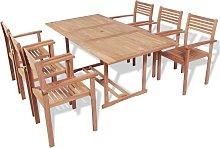 vidaXL Set de comedor exterior 7 piezas de madera