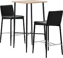 vidaXL Set mesa alta y taburetes 3 pzas cuero