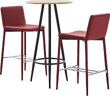 vidaXL Set mesa alta y taburetes bar 3 pzas cuero