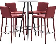 vidaXL Set mesa alta y taburetes bar 5 pzas cuero