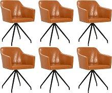 vidaXL Silla de comedor giratoria 6 unidades cuero