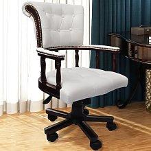 vidaXL Silla de oficina giratoria blanca