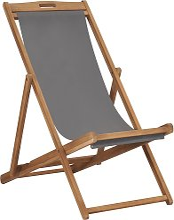 vidaXL Silla de playa plegable de madera maciza de