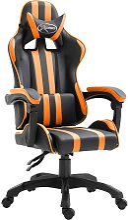 vidaXL Silla gaming de cuero sintético naranja