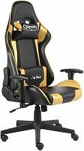 vidaXL Silla gaming giratoria PVC dorado - Oro