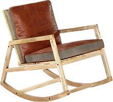 vidaXL Silla mecedora de cuero auténtico y madera