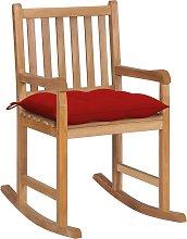 vidaXL Silla mecedora de madera maciza de teca con