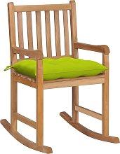 vidaXL Silla mecedora de madera maciza teca con