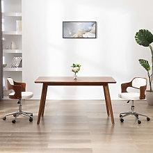 vidaXL Silla oficina giratoria madera curvada