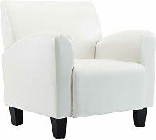 vidaXL Sillón de Cuero Sintético Blanco - Blanco