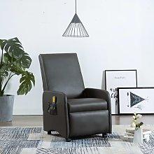 vidaXL Sillón de masaje reclinable de cuero