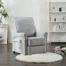 vidaXL Sillón de masaje reclinable de tela gris