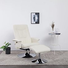 vidaXL Sillón masaje reclinable reposapiés cuero