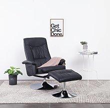 vidaXL Sillón reclinable con reposapiés cuero