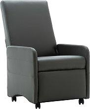 vidaXL Sillón reclinable de cuero sintético gris