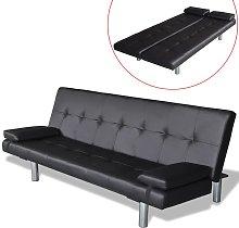 vidaXL Sofá cama con dos almohadas ajustable