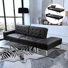 vidaXL Sofá cama de cuero artificial negro
