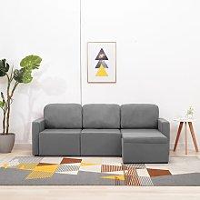 vidaXL Sofá cama modular de 3 plazas tela gris