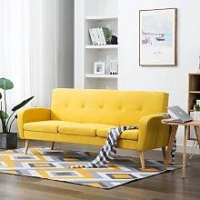 vidaXL Sofá de 3 plazas de tela color amarillo