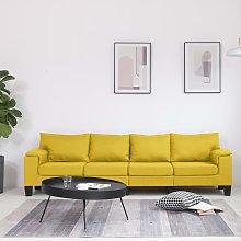vidaXL Sofá de 4 plazas de tela amarillo