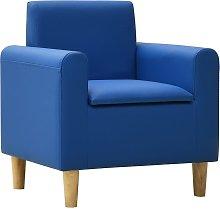 vidaXL Sofá infantil de cuero sintético azul