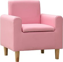 vidaXL Sofá infantil de cuero sintético rosa