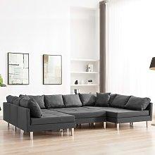 vidaXL Sofá modular de tela gris oscuro