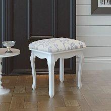 Vidaxl - Taburete de tocador tela blanco cálido