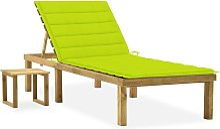 vidaXL Tumbona de jardín con mesa y cojín de