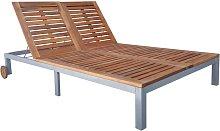 vidaXL Tumbona doble de madera maciza de acacia