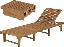 vidaXL Tumbona plegable de madera maciza de acacia
