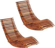 vidaXL Tumbonas mecedoras 2 unidades madera maciza