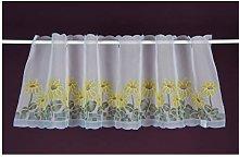 Visillo con diseño de flores, cortina corta, 50 x